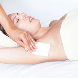 Having pain while removing hair of armpit royalty free stock photo