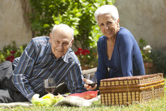 Having a picnic at the park. Lovely senior couple having a picnic at the park Royalty Free Stock Images