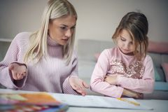 Having problem. Education at home. Stock Photography