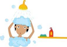 Having a shower vector illustration