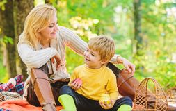 Free Having Snack During Hike. Happy Childhood. Mom And Kid Boy Relaxing While Hiking Forest. Family Picnic. Mother Pretty Royalty Free Stock Photography - 161912247