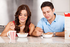 Having some cereal for breakfast Stock Image