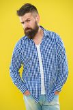 Having some doubts. Beard fashion and barber concept. Man bearded hipster beard yellow background. Barber tips maintain. Beard. Stylish beard mustache care stock image