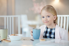 Having tea with biscuits royalty free stock photo