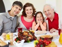Having Thanksgiving dinner Royalty Free Stock Images