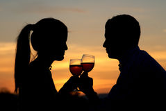 Having a toast at the sunrise Stock Photography