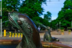 Havis Amanda fontanna w Helsinki i statua, Obraz Royalty Free