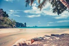 Havkust bredvid den tropiska ön thailand Fotografering för Bildbyråer