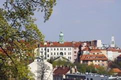 从Havlickovy对Vrsovice区的Sady布拉格的看法在布拉格 免版税库存图片