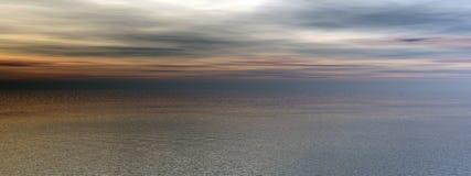 havpanoramasolnedgång stock illustrationer