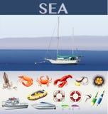 Havplats med skepp och havsdjur Royaltyfri Bild