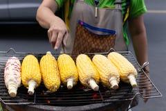 Havre för galler för gatamatkvinna på majskolven på den varma ugnen med kol royaltyfri foto