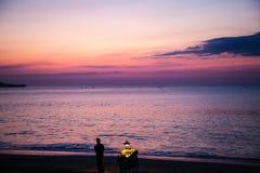 Havre i solnedgång Arkivbilder