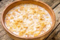 havreflakes mjölkar Frukostbakgrund Fotografering för Bildbyråer