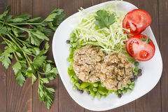 Havreliten pastej med grönsaker, kål, tomaten och ärtor Arkivbilder