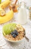 Havremjöl med gröna Apple, bananen, blåbär, honung och Chia frö Royaltyfri Bild