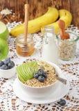 Havremjöl med gröna Apple, bananen, blåbär, honung och Chia frö Arkivbild