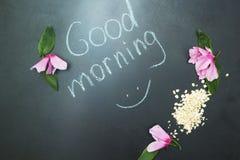 Havremjöl och rosa blommor, orden vektor illustrationer