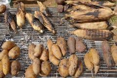 Havren och sötpotatisen är gilled på gälet. Royaltyfri Bild