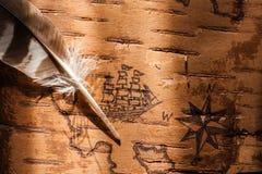Havsöversikten med illustrationer av den seglingskyttlar och kompasset steg royaltyfri fotografi