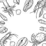 Havs- bakgrundsmeny royaltyfri illustrationer
