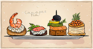 Havs- canapes ställde in med laxen, den röda kaviaren och räka vektor illustrationer