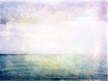 Havs-, himmel- och ljusgrungebild Arkivfoton
