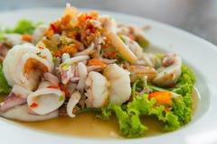 havs- kryddigt thai för sallad thai kokkonst Arkivbilder