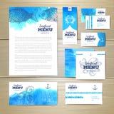 Havs- menydesign för vattenfärg vektor för mall för identitet för illustrationsaffär företags stock illustrationer