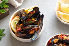 Havs- musslor med sås och persilja arkivbilder