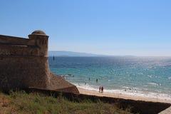 Havs- och citadellvägg i Ajacco Corse Frankrike Arkivfoto