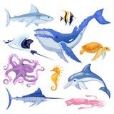 Havs- och havdjuruppsättning Illustration för marin- fisk för vektortecknad film som isoleras på vit bakgrund royaltyfri illustrationer