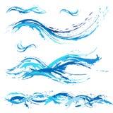 Havs- och havvågor, blått målar fläcken, färgstänk, droppar stock illustrationer