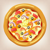 Havs- pizzavektorillustration Vektor Illustrationer