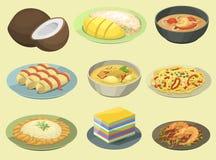 Havs- räka för traditionell nationell thai kokkonst för matThailand asiatisk platta som lagar mat den läckra vektorillustrationen royaltyfri illustrationer