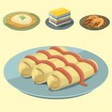Havs- räka för traditionell nationell thai kokkonst för matThailand asiatisk platta som lagar mat den läckra vektorillustrationen stock illustrationer