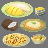 Havs- räka för traditionell nationell thai kokkonst för matThailand asiatisk platta som lagar mat den läckra vektorillustrationen vektor illustrationer