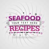 Havs- recept för parti och japansk rå kokkonst stock illustrationer