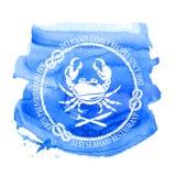 Havs- restaurangemblem med krabban Royaltyfri Foto