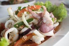 Havs- sallad med tioarmade bläckfisken Arkivfoto
