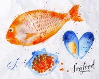 Havs- vattenfärgfisk, röd kaviar, mussla stock illustrationer