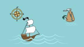 Havsaffärsföretag av piratkopierar segelbåten arkivfilmer