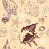 Havsbakgrund. Hand tecknad illustration Fotografering för Bildbyråer