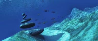 havsbotten för illustration 3d med stenar Royaltyfri Bild