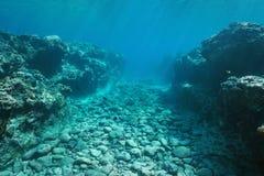Havsbotten sned vid dyningen in i revStilla havet Royaltyfri Fotografi