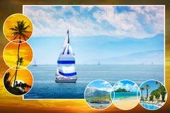 Havscollage förbi för den idérika orienteringen, kalender, vykort Arkivfoto