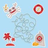 Havsdjur, fartyg piratkopierar gullig lek för labyrint för havsobjektsamling för förskole- barn vektor Royaltyfri Bild