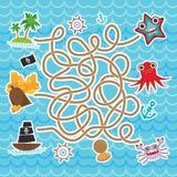 Havsdjur, fartyg piratkopierar gullig lek för labyrint för havsobjektsamling för förskole- barn vektor Arkivfoto