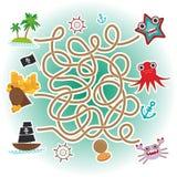 Havsdjur, fartyg piratkopierar lek för labyrint för havsobjektsamling för förskole- barn vektor Fotografering för Bildbyråer