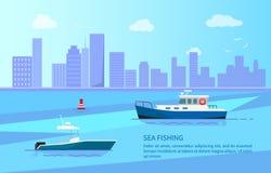 Havsfiske på motorfartyg nära lång kustlinje stock illustrationer